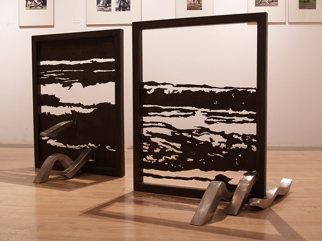 Mascaret IV, acier, acier inoxydable, 107,5 x 84 x 74 cm et Mascaret III, 1994, acier, acier inoxydable, 107,5 x 98 x 94 cm